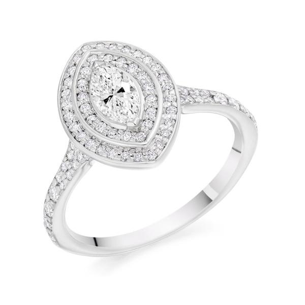Platinum Marquise Cut Diamond Cluster Ring 0.75ct