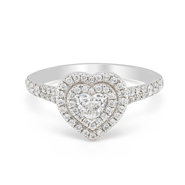 Platinum Heart Shaped Double Halo Cluster Ring With Diamond Shoulders .80ct
