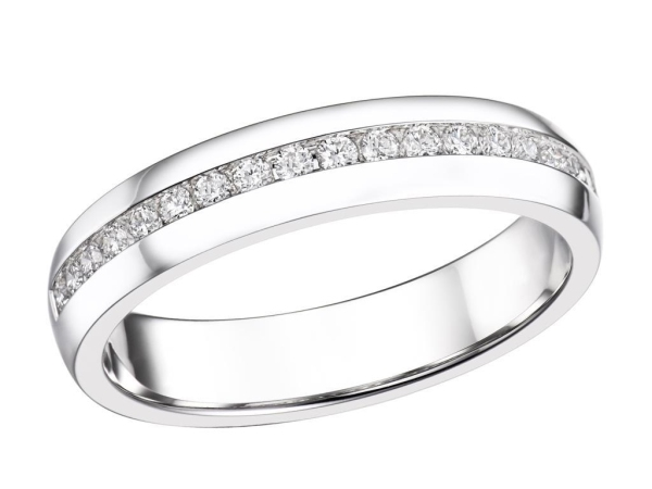 18ct White Gold 19 Diamond Channel Set Band .22cts