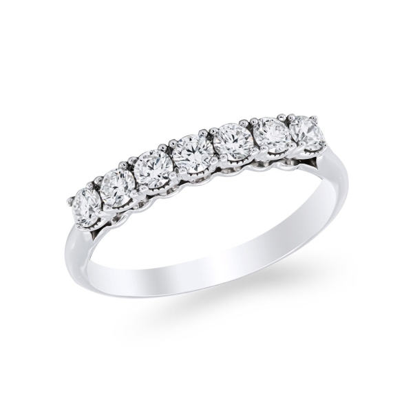 9ct White Gold 7 Stone Diamond Claw Set Ring .50cts