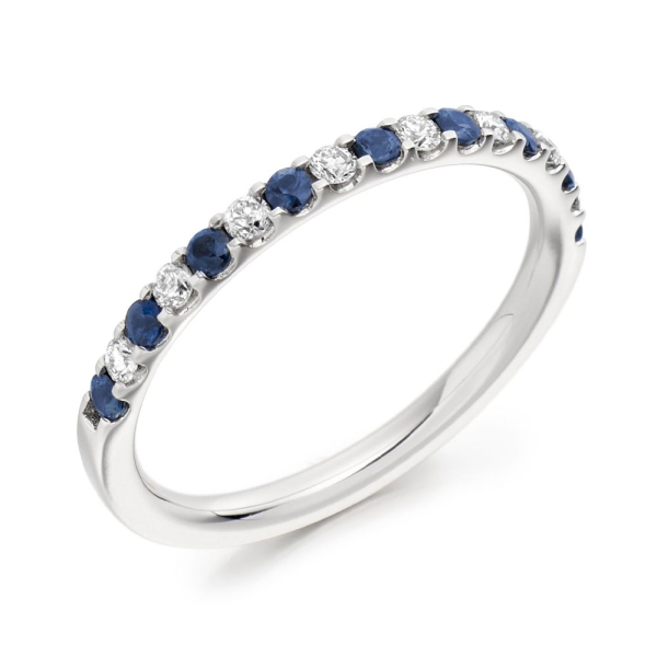 18ct White Gold Sapphire and Diamond Eternity Band