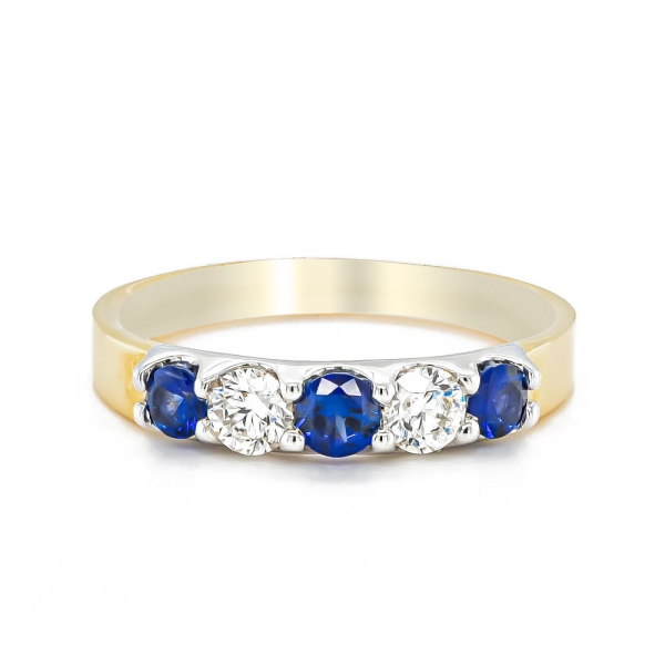 18ct Yellow and White Gold Sapphire and Diamond Five Stone Band