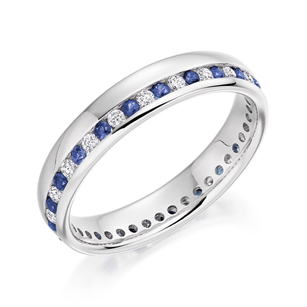18ct White Gold Channel Set Sapphire And Diamond Edge Ring HET948BSAD