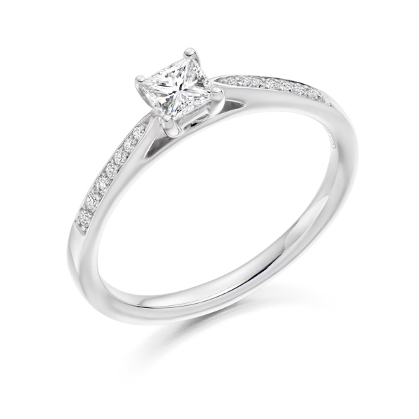 18ct White Gold Princess & Brilliant Diamond Ring 0.32ct