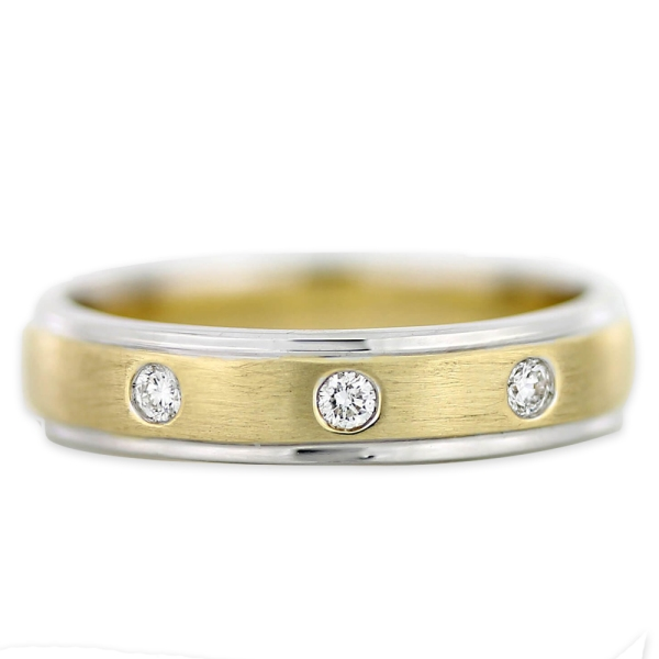 9ct Yellow And White Gold 3 Stone Brilliant Cut Diamond Ring 0.09ct