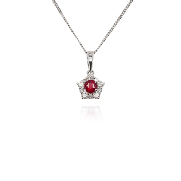 9ct White Gold Ruby And Diamond Star Cluster Pendant