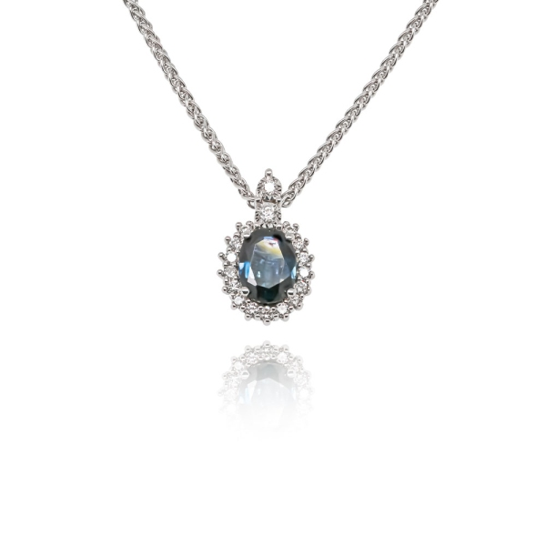 9ct White Gold Traditional Oval Sapphire And Diamond Pendant