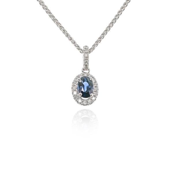 18ct White Gold 0.65ct Oval Sapphire And Diamond Pendant