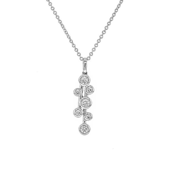 18ct White Gold Diamond Drop Rub Over Pendant .23cts