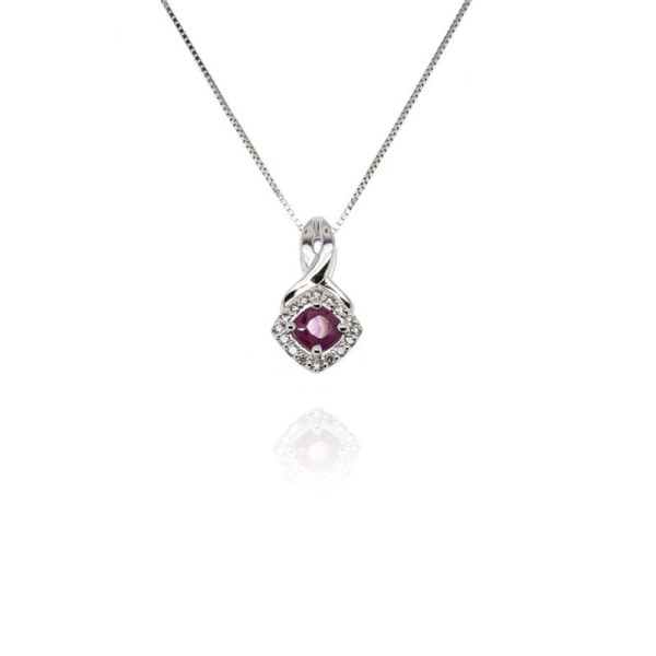 9ct White Gold Ruby And Diamond Offset Cluster Pendant