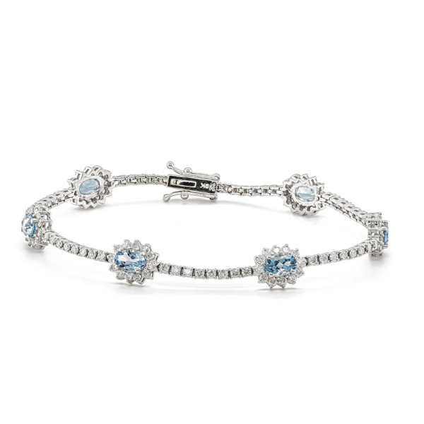 9ct White Gold Oval Aqua and Diamond Cluster with Diamond Lines Bracelet