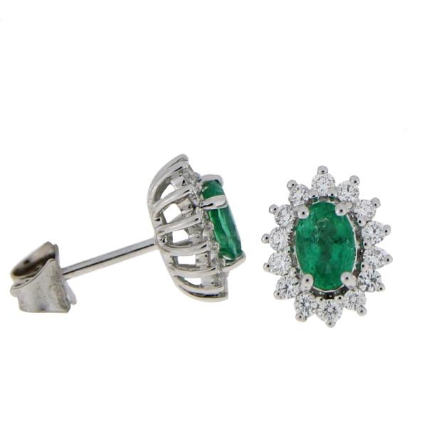18ct White Gold Emerald & Diamond Cluster Studs 0.79ct