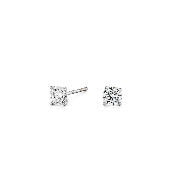 18ct White Gold 0.32ct Round Brill 4 Claw Stud Earrings