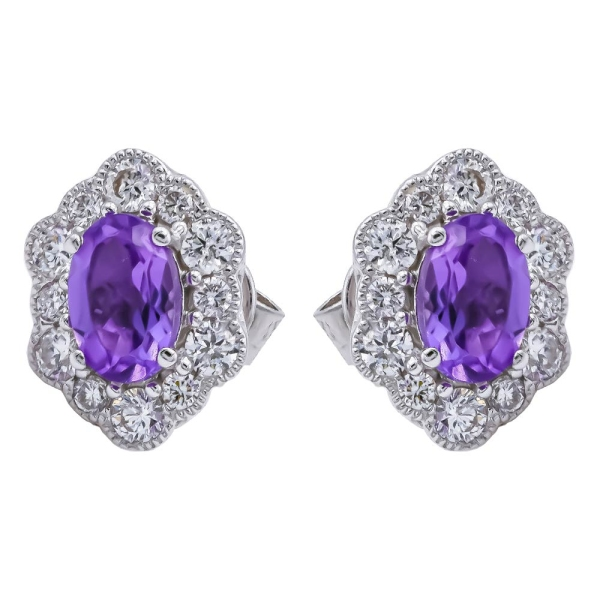 9ct White Gold Amethyst and Diamond Scalloped Edge Cluster Earrings