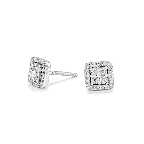 9ct White Gold Square Diamond Illusion Stud Earrings .19cts