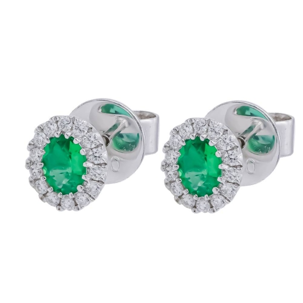 18ct White Gold Oval Emerald and Diamond Stud Earrings
