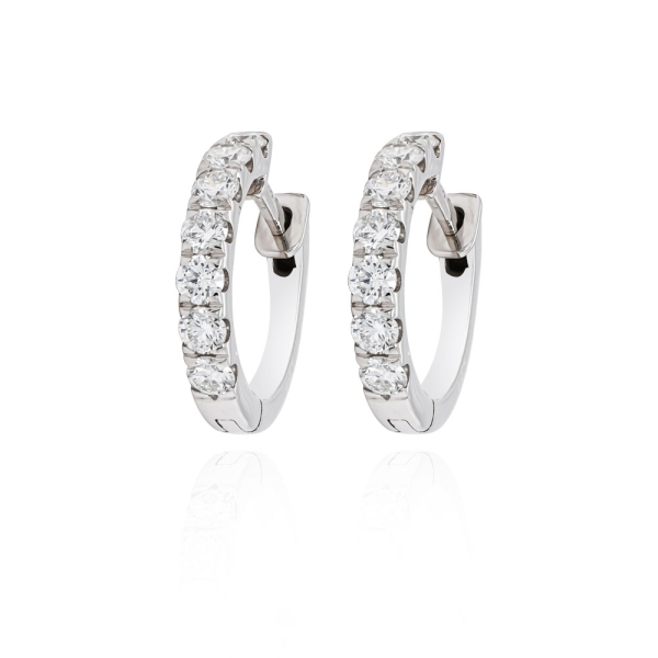 18ct White Gold Diamond Set Claw Set Hoops 1.01cts