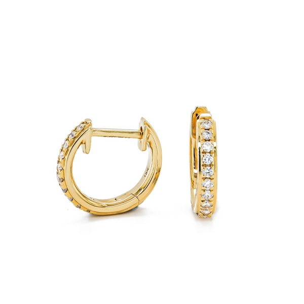 18ct Yellow Gold Diamond Claw Set Hoops .15cts