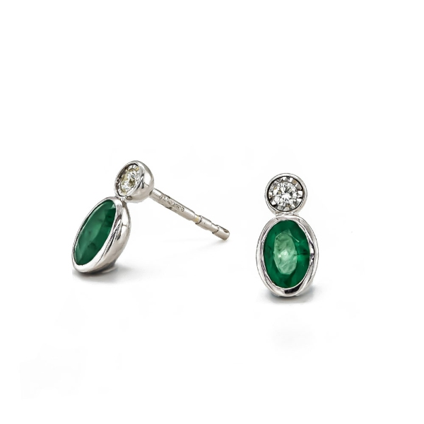 9ct White Gold Oval Emerald and Diamond Illusion Drop Earrings