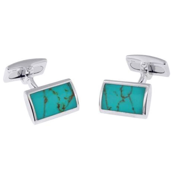 Hoxton Silver Turquoise Cufflinks