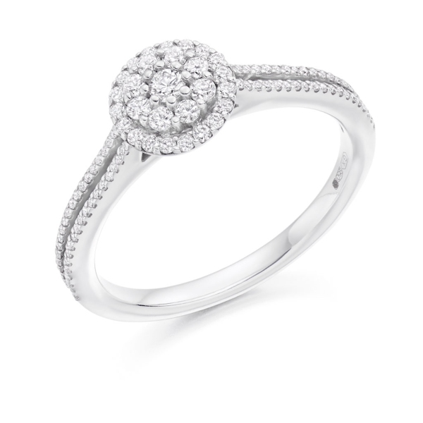 18ct White Gold Diamond Cluster Ring With Split Shoulders 0.40ct.