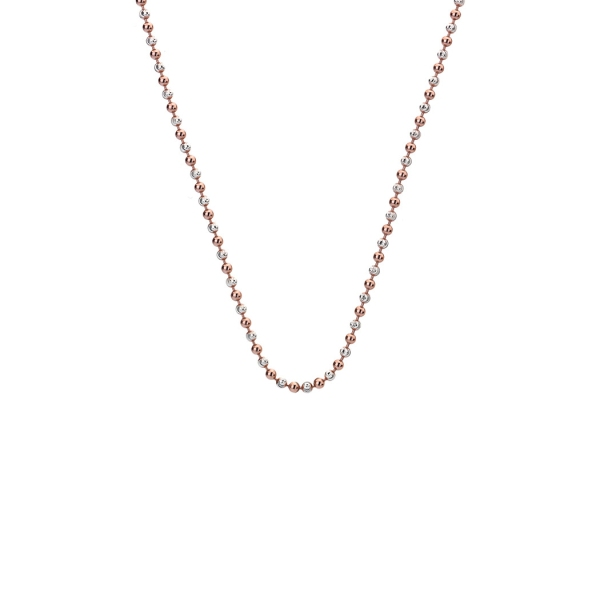 "Emozioni By Hot Diamonds 30"" Sterling Silver and Rose Gold Plated Accent Bead Chain CH020"