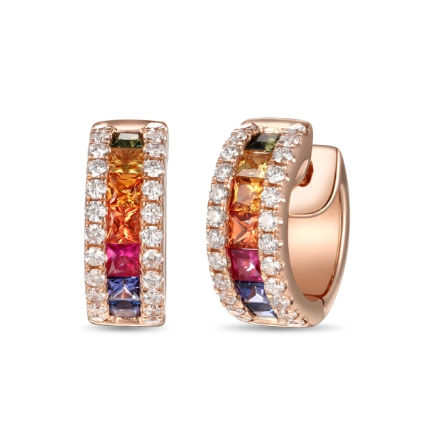 18ct Rose Gold Multi Coloured Sapphire and Diamond Hoop Earrings