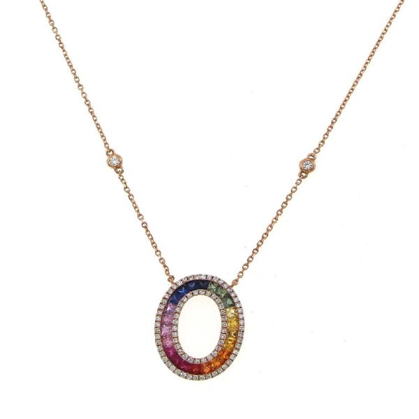 18ct Rose Gold Open Oval Multi Coloured Sapphire and Diamond Pendant