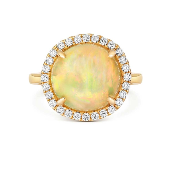 Tivon 18ct Round Opal and Diamond Dress Ring
