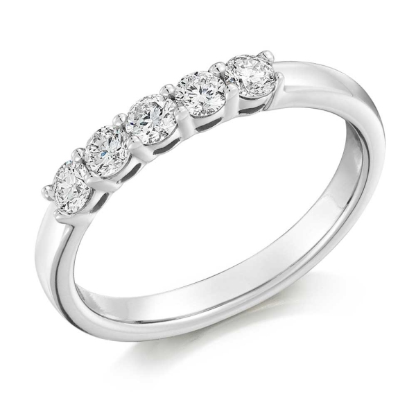 18ct White Gold 5 Stone Claw Set Ring .45ct