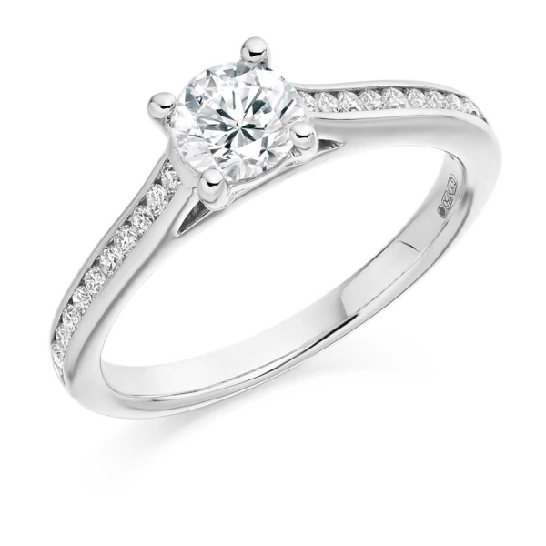 18ct White Gold Claw Set Brilliant Cut Diamond Ring With Diamond Set Shoulders Total 0.75ct
