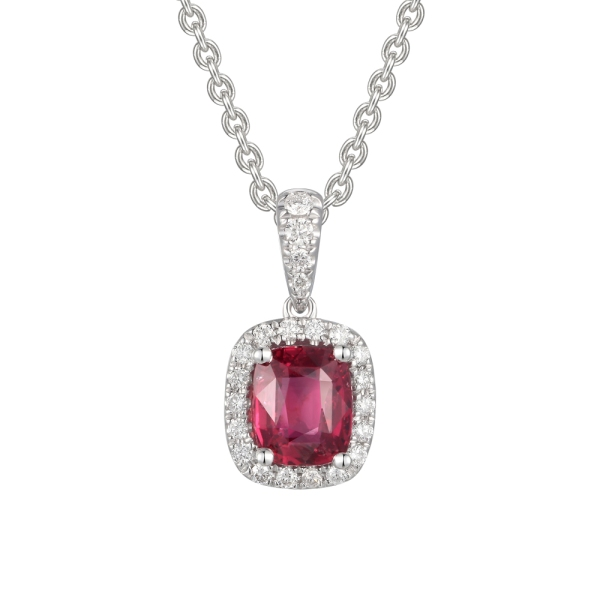 18ct White Gold Cushion Ruby and Diamond Cluster Pendant