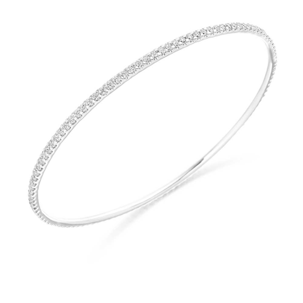 18ct White Gold Diamond Set Bangle 2.25ct