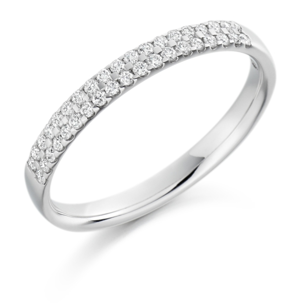 18ct White Gold Double Row Half Eternity Band .25ct