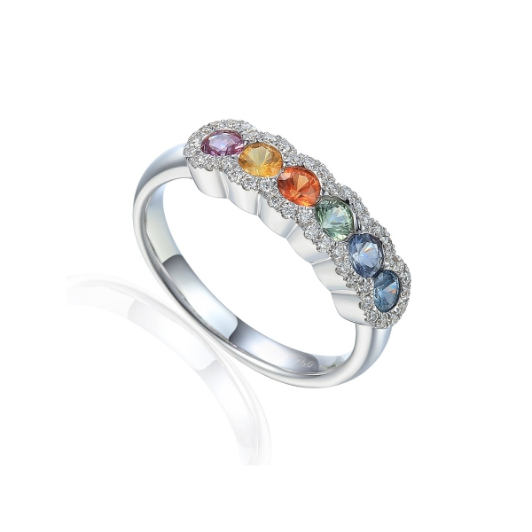 18ct White Gold Fancy Coloured Sapphire and Diamond Cluster Edged Band