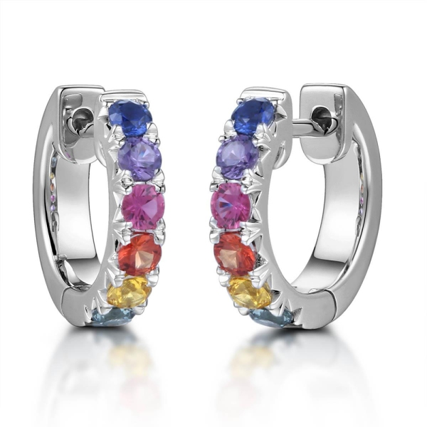 18ct White Gold Multi Coloured Sapphire Hoop Earrings