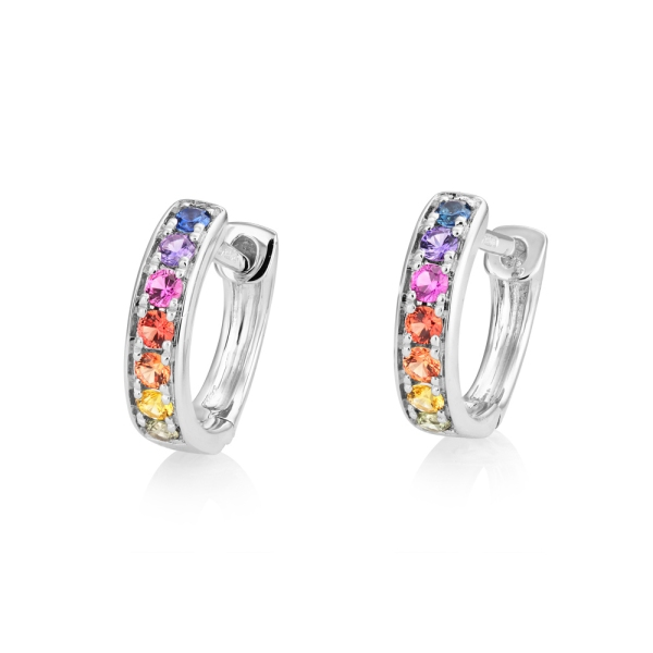 18ct White Gold Multi Coloured Sapphire Small Hoop Earrings