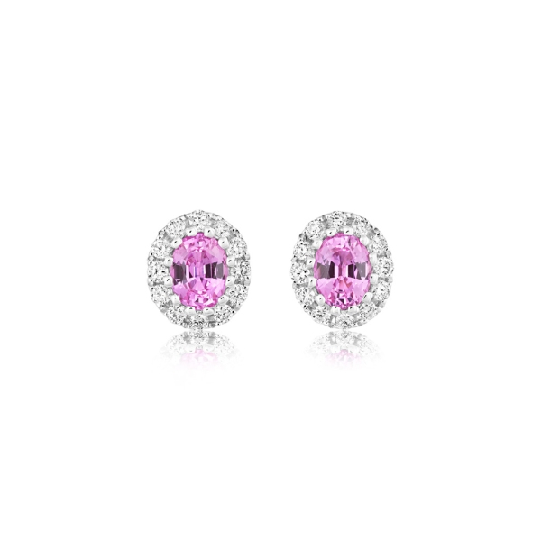 18ct White Gold Oval Pink Sapphire and Diamond Cluster Stud Earrings
