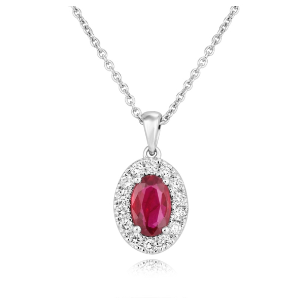 18ct White Gold Oval Ruby and Diamond Pendant and Chain