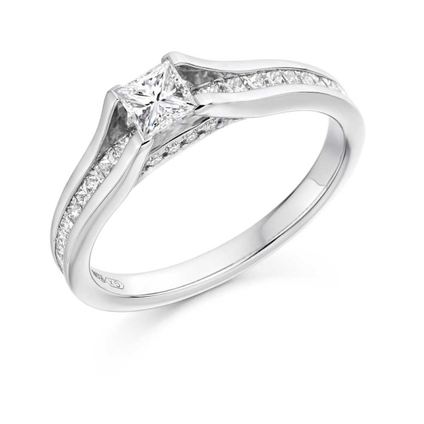 18ct White Gold Princess Cut Diamond Ring with Princess Cut diamond Shoulders .79ct