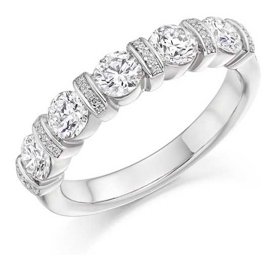 18ct White Gold Round Brilliant Cut Bar And Grain Set Diamond Ring 1.20ct