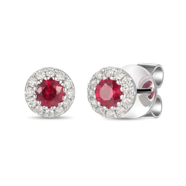 18ct White Gold Round Ruby and Diamond Cluster Earrings