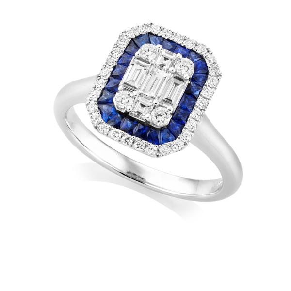 18ct White Gold Sapphire and Diamond Art Deco Style Cluster Ring