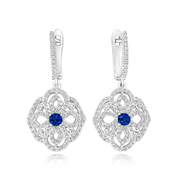 Tivon 18ct White Gold Sapphire and Diamond Dropper Earrings