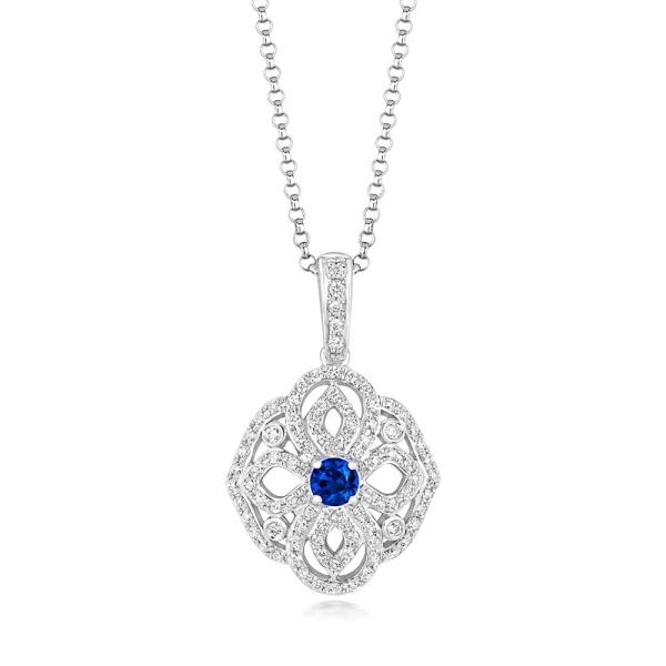 Tivon 18ct White Gold Sapphire and Diamond Vintage Style Pendant