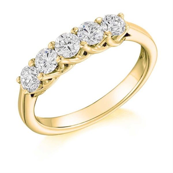 18ct Yellow and White 5 Diamond Claw Set Ring .85ct