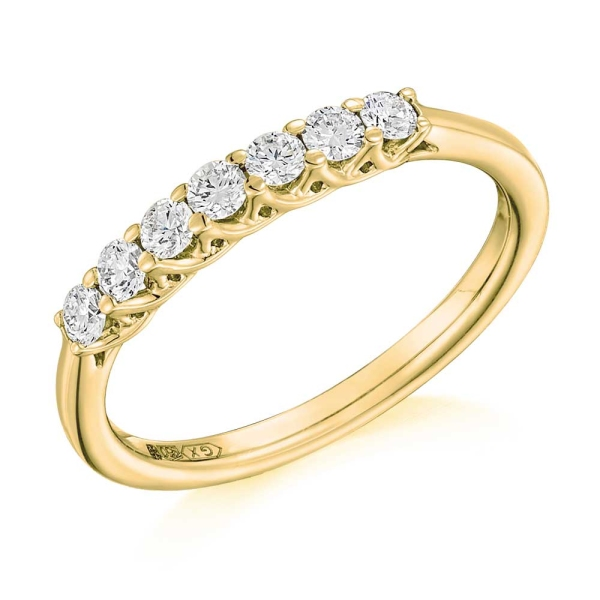 18ct Yellow and White Gold 7 stone Claw Set Diamond Ring .35ct