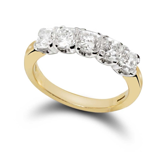 18ct Yellow And White Gold Brilliant Cut 5 Stone Diamond Ring 1.87ct