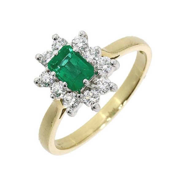 18ct Yellow Gold Emerald Cut Emerald and Diamond Cluster Ring