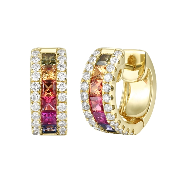 18ct Yellow Gold Multi Coloured Princess Sapphire and Round Diamond Hoop Earrings